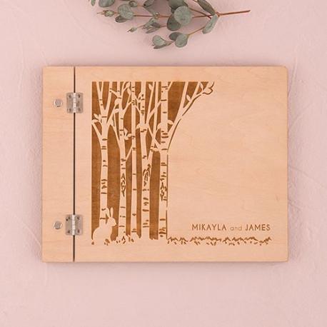 Le Livre D Or Couverture Bois Personnalise Foret