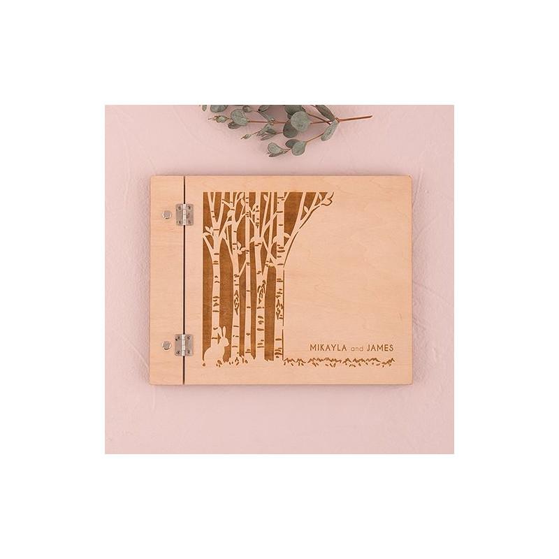 Livre D Or Mariage Couverture Bois Personnalise Theme Rustique