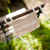 pancarte chaise mariage en toile de jute