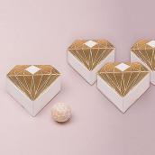 La boîte à dragées diamant or x10