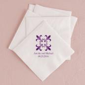 Les 80 serviettes personnalisées fleur de lys 10,8x20cm