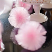 La guirlande de pompons tulle rose