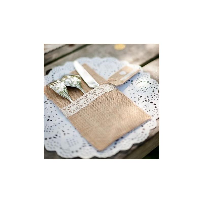 Pochette couverts toile de jute - Pochette serviette de table ...