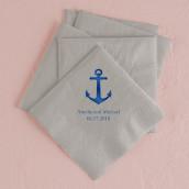 Les 100 serviettes personnalisées ancre 12,5cm