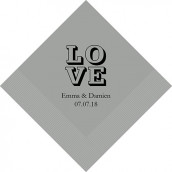Les 80 serviettes personnalisées love 10,8x20cm