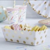La boite blanche à pois or pour gâteau (x5