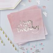 Les 20 serviettes rose ombré anniversaire