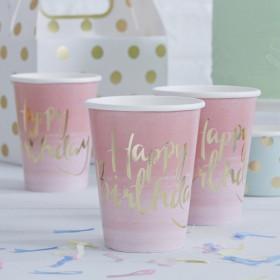 Les 8 gobelets rose happy birthday