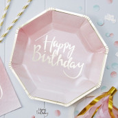 Les 8 assiettes rose happy birthday