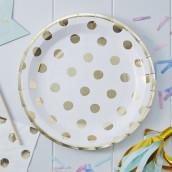 Les 8 assiettes blanches à pois or