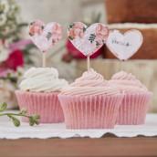 Les 10 pics à cupcake coeur bohème