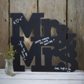 La pancarte Mr &mrs ardoise pour messages