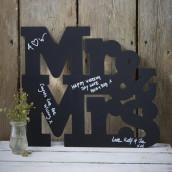 La pancarte Mr &mrs ardoise pour messages