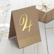 Les 12 numéros de table kraft pois or