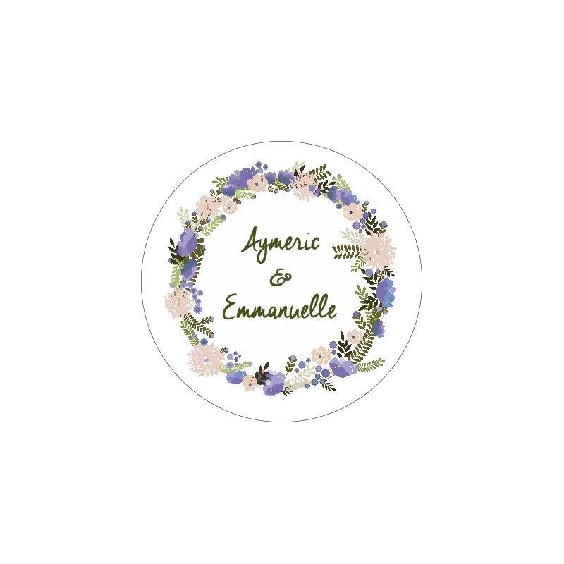 Sticker personnalise couronne fleurs - Stickers muraux personnalises ...