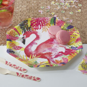 Les assiettes en carton flamant rose