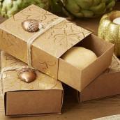 La boîte à dragées kraft automne pour cadeau d'invités