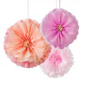 Les 3 fleurs pompons pivoine