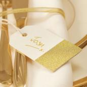 Les 10 étiquettes tag ivoire et glitter or