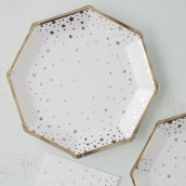 Les 8 assiettes étoile doré en carton