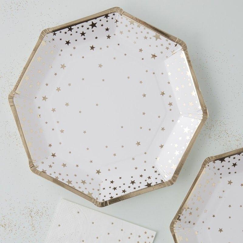 assiette en carton etoile or osez la vaisselle jetable. Black Bedroom Furniture Sets. Home Design Ideas