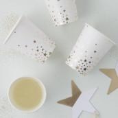 Les 8 gobelets en carton étoile or