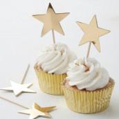 Les 10 pics à cupcake étoile or