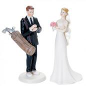 La figurine marié jouant au golf pour gateau