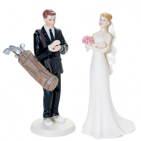 funny golf themed wedding cake toppers figurine mariage golf 14545