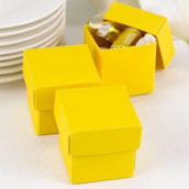 La boite à dragées cube jaune (par 25)