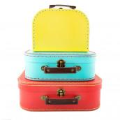 Le set de 3 valises rouge, bleu et jaune