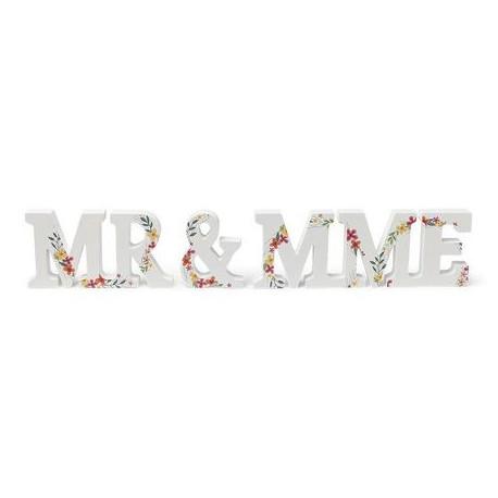Mr & Mrs en bois motif champêtre