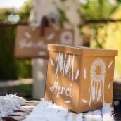 L'urne de mariage kraft bohème