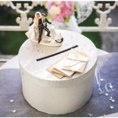 L'urne de mariage ronde blanche