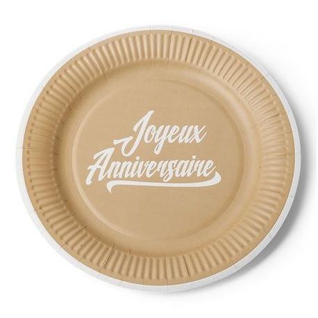 Les 12 assiettes kraft anniversaire