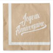 Les 20 serviettes en papier kraft anniversaire
