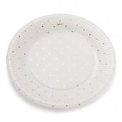 Les 12 assiettes en carton blanches pois or