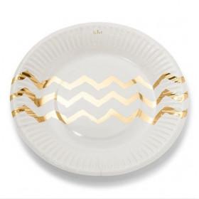 Les 12 assiettes en carton blanches chevron or