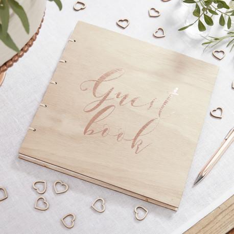 Le livre d'or Guestbook cuivre en bois