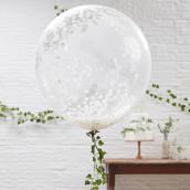Les 3 ballons confettis blancs
