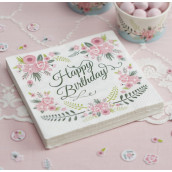 Les 20 serviettes happy birthday champêtres