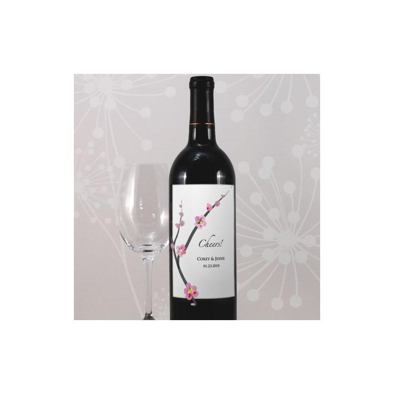 etiquette bouteille vin personnalise fleur cerisier. Black Bedroom Furniture Sets. Home Design Ideas