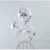 Les 5 ballons confettis argent