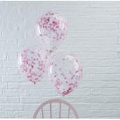 Les 5 ballons confettis rose