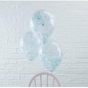 Les 5 ballons confettis bleu