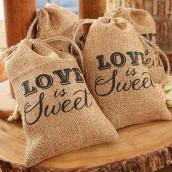 Les 12 pochons toile de jute Love is sweet