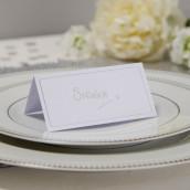 Le marque place carton blanc et argent (par 10)