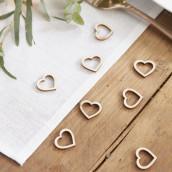 Les confettis de table en bois coeur