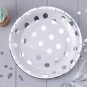Les 8 assiettes blanches à pois argent