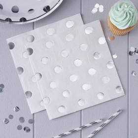 Les 20 serviettes blanches à pois argent